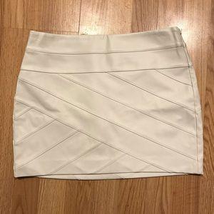 Express Faux Leather Cream Mini Skirt